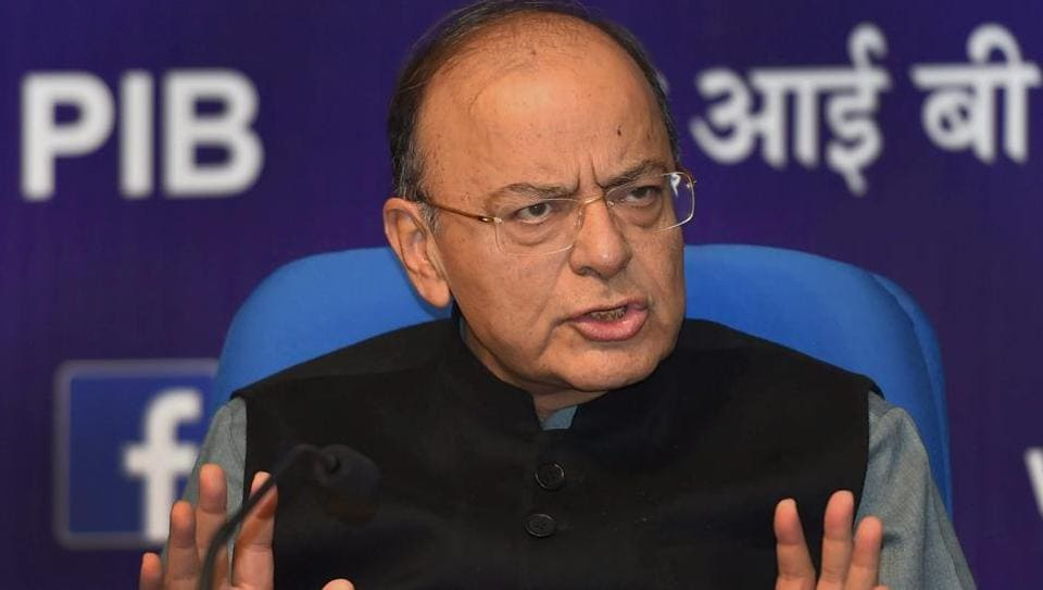 Finance minister Arun Jaitley addresses press conference in New Delhi.