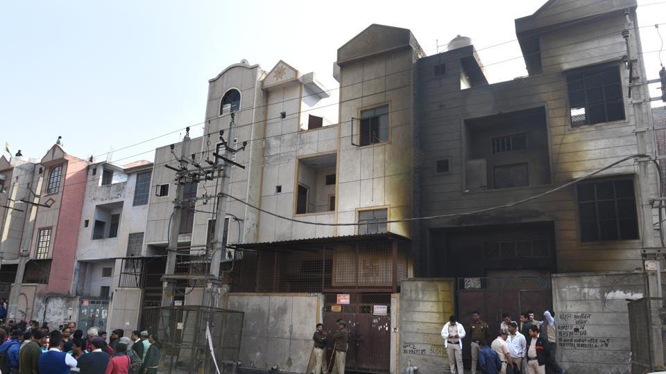The building where a massive fire broke last night at Bawana on Sunday.