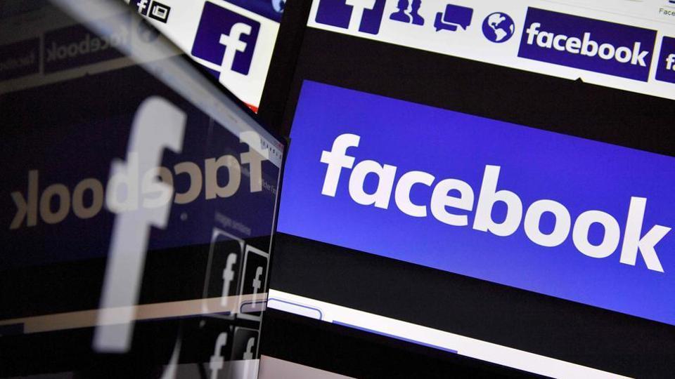 Logos of social networking service Facebook.