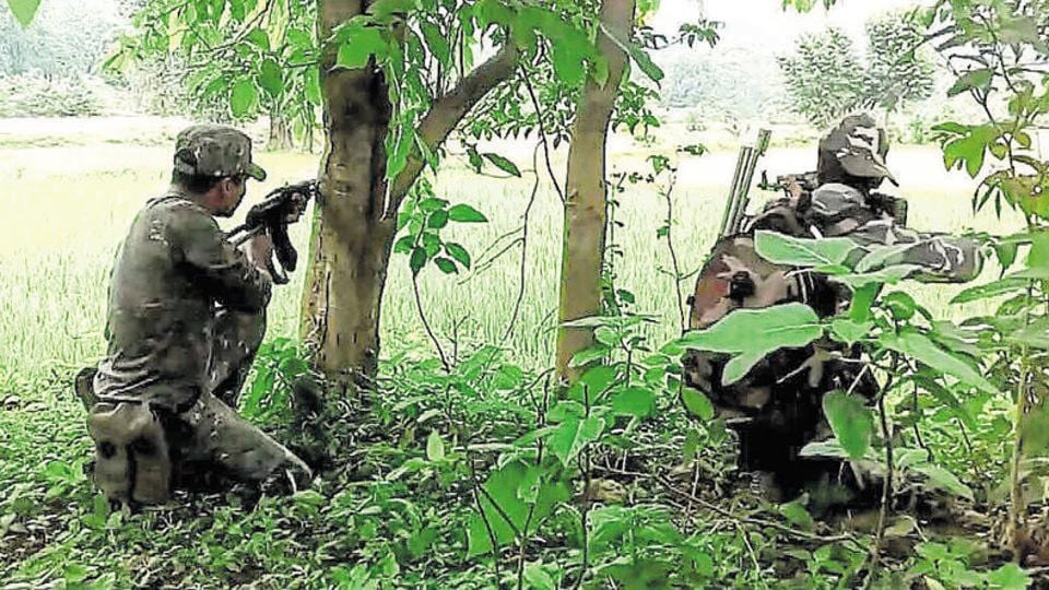 Security forces during a ground operation against Maoists in East Singhbhum  in Jharkhand.