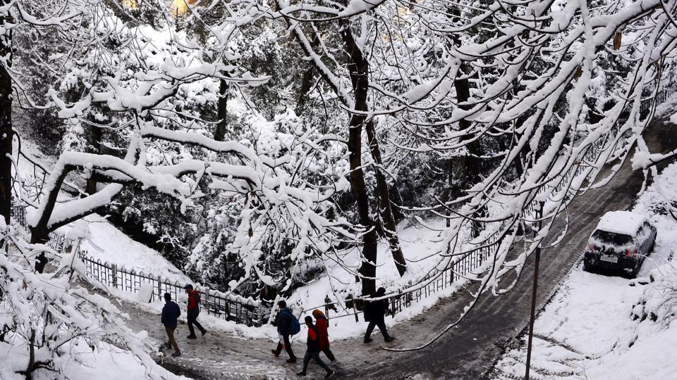 Tourists thronged Shimla and Kufri in Himachal Pradesh soon after hearing about the season's first snowfall.  (Deepak Sansta/HT)