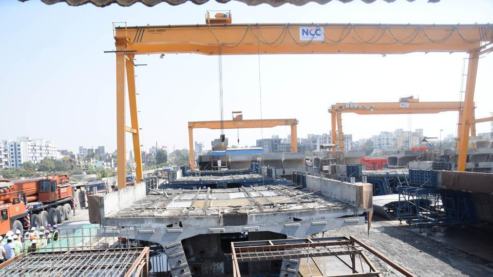 The ongoing Metro work between Dapodi and Pimpri in Pune. Pune Metro project was launched in January 23 last year.