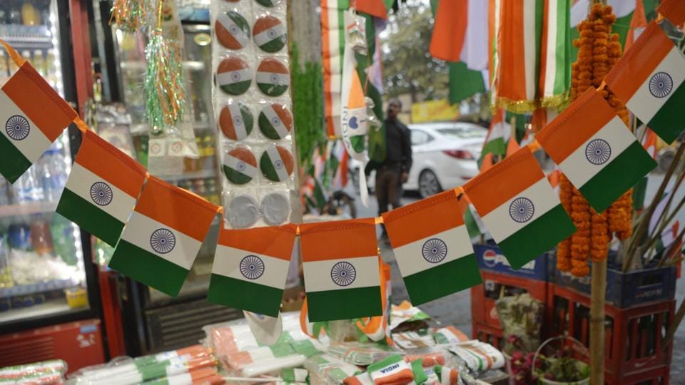 Memorabilia depicting the national flag is displayed for sale in Siliguri.