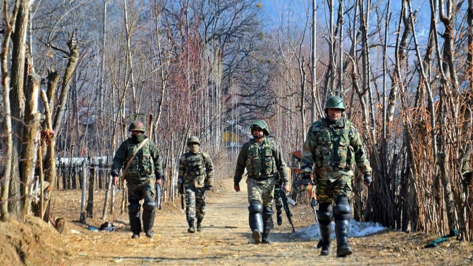 Army personnel during an encounter at Kokarnag in Anantnag district of South Kashmir.