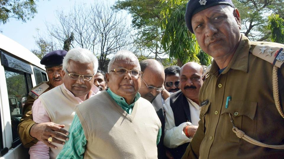 Rashtriya Janata Dal leader and former Bihar chief minister Lalu Prasad was on Wednesday sentenced to 5 years in prison in the third fodder scam case by a special CBI court in Ranchi. The case involved 56 accused, out of which 6 were acquitted by the court. (PTI)