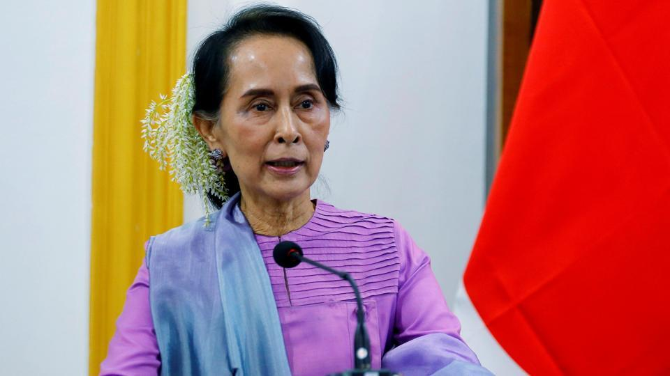 Myanmar's leader Aung San Suu Kyi speaks during a news conference with Japanese Foreign Minister Taro Kono in Naypyidaw, RJanuary 12, 2018.