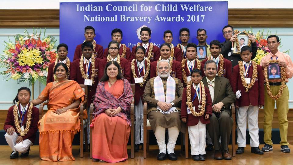 Prime Minister Narendra Modi at the presentation ceremony of the National Bravery Awards  in New Delhi on Wednesday.
