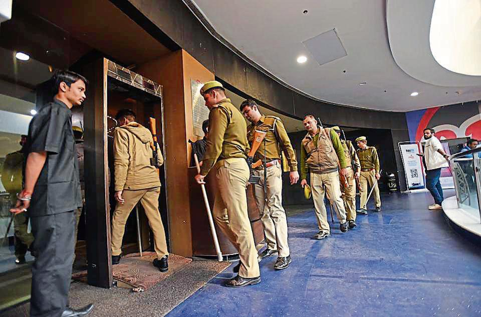 Elaborate security arrangements have been made, specially around malls, multiplexes and cinemas to prevent violence.