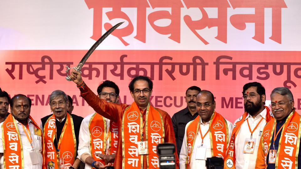 Uddhav Thackarey at the Shiv Sena's national executive in Mumbai on Tuesday where the party announced it would go solo in the Lok Sabha and Maharashtra assembly elections in 2019.
