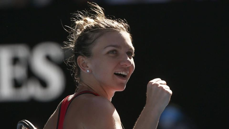 Simona Halep of Romania celebrates winning against Karolina Pliskova of Czech Republic 6-3, 6-2. (REUTERS)