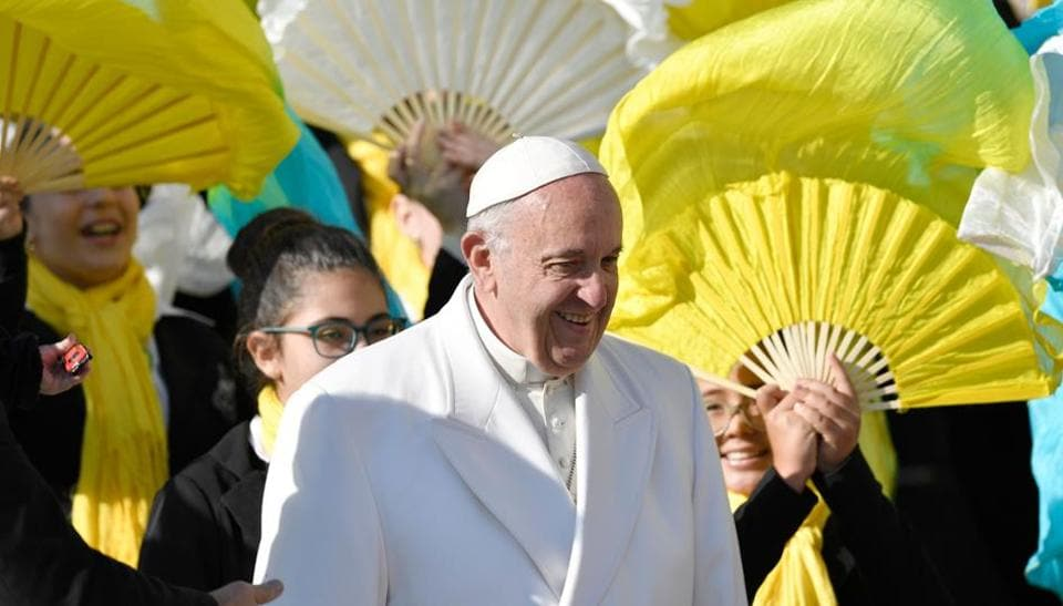 Pope Francis meets people at the end of a weekly general audience in St Peter's Square on January 24.