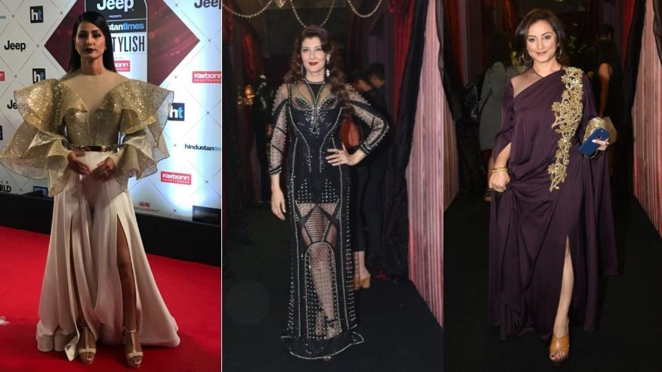 Television actor and Bigg Boss 11 runner-up Hina Khan arrived on the red carpet in an Alpana Neeraj outfit, looking like a gorgeous butterfly.  Sangeeta Bijlani wore a heavily-sequined sheer black dress. Divya Dutta wore a purple flowy gown.  (HT Photo)