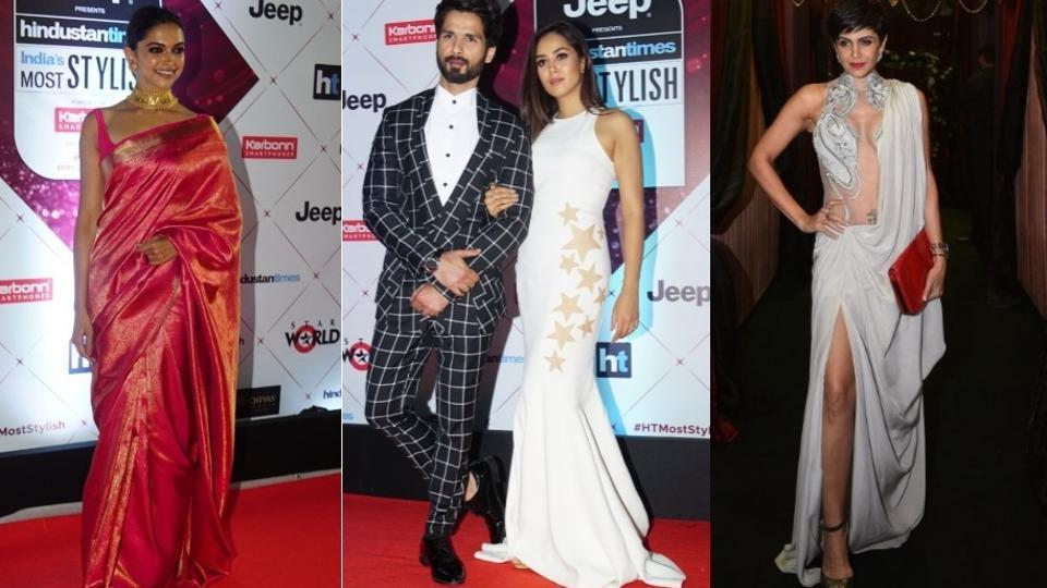 Bollywood's A-listers descended on the red carpet of one of the country's biggest style awards on Wednesday at the Yash Raj Studios in Andheri, Mumbai.The guest list included the who's who of the industry, from Deepika Padukone to Shahid Kapoor-Mira Rajput, Hina Khan, Sridevi, Rekha and many more.  (HT Photo)