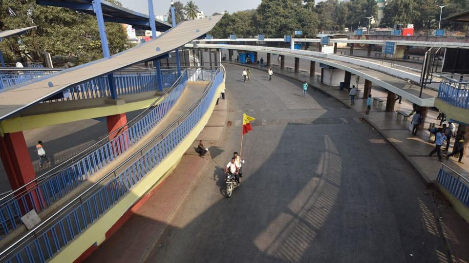 A deserted Majestic bus terminal on Thursday after a state-wide bandh was called in Karnataka, demading the PM's intervention.