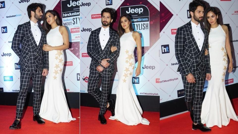 Shahid Kapoor and Mira Rajput get the Most Stylish Couple award. Shahid wore a chequered Gaurav Gupta suit while Mira came in a body-hugging cream-coloured dress. (HT Photo)