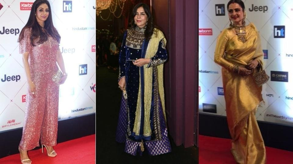 Yesteryear's divas -- Sridevi, Zeenat Aman and Rekha -- almost caused a stamped when they arrived on the red carpet for the waiting photographers.  (HT PHoto)