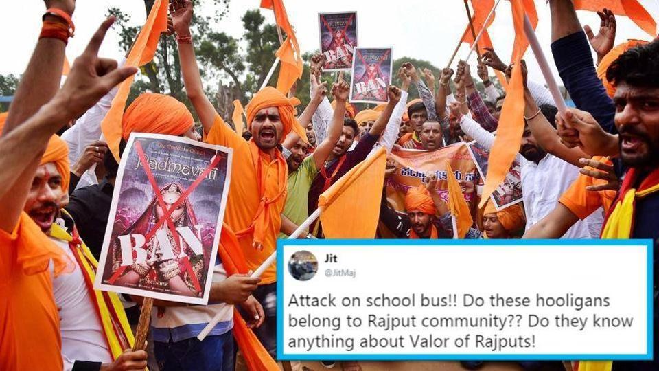 Members of Rashtriya Rajput Karni Sena shout slogans against fimmaker Sanjay Leela Bhansali during a protest