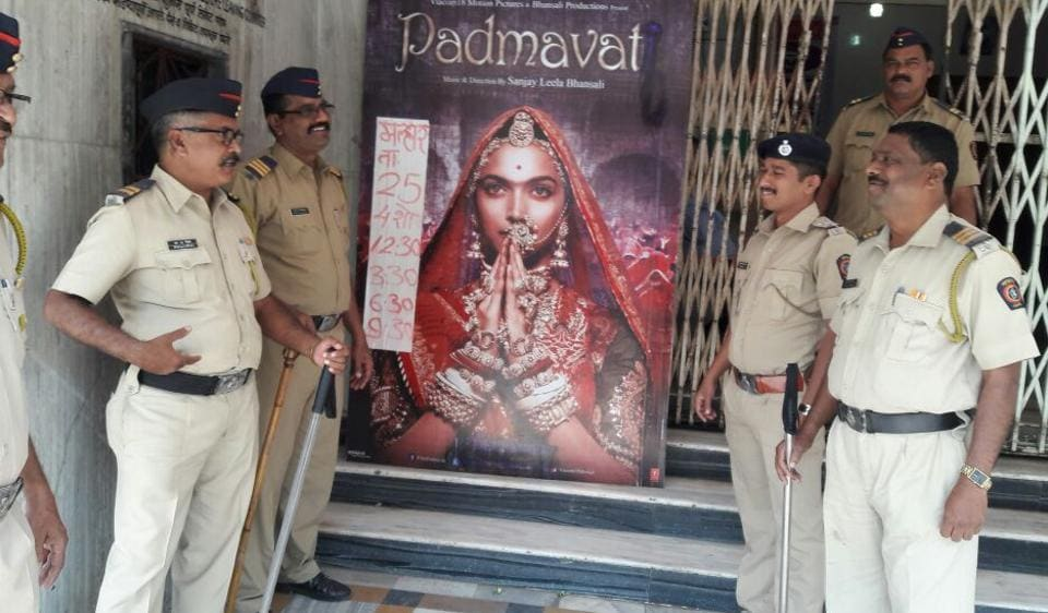 Police personnel at Malhar cinema in Thane on Thursday.