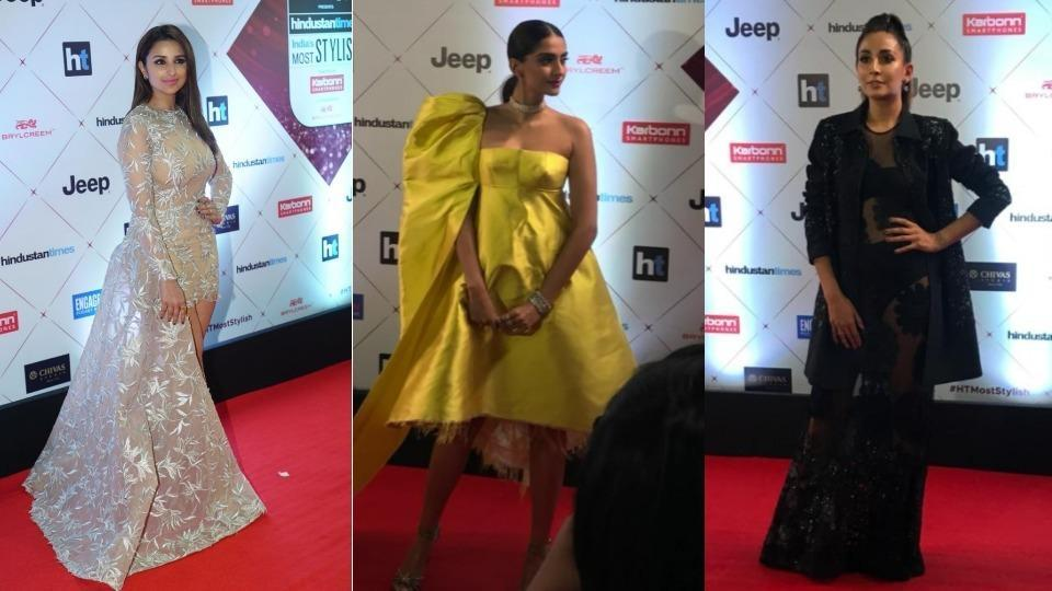 Parineeti Chopra was given the Style Gamechanger (female) award. Sonam Kapoor and Monica Dogra dazzled in their stylish outfits for the evening.  (HT Photo)
