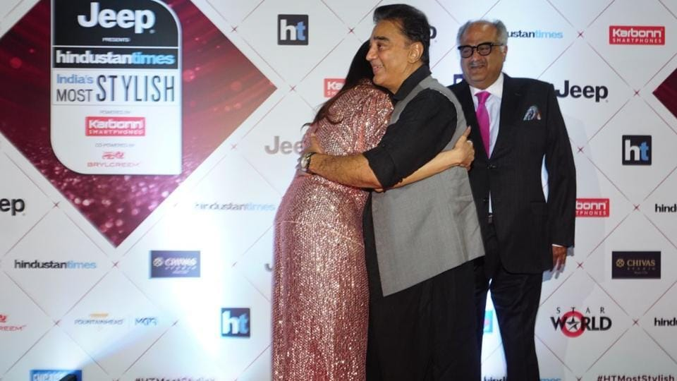 Sadma reunion: Sridevi with her co-star of the iconic film, Kamal Haasan.  (HT Photo)