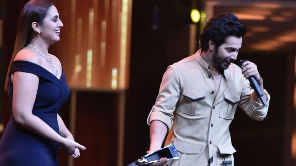 "Varun Dhawan got the Most Stylish Youth Icon (male) award. ""HT is one paper I do love reading. They support arts, fashion and cinema and do an honest job,"" he said in his speech. (ht photo)"