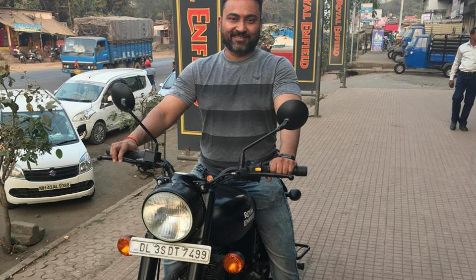 Vasai hotelier and biking enthusiast with his newly purchased bike.