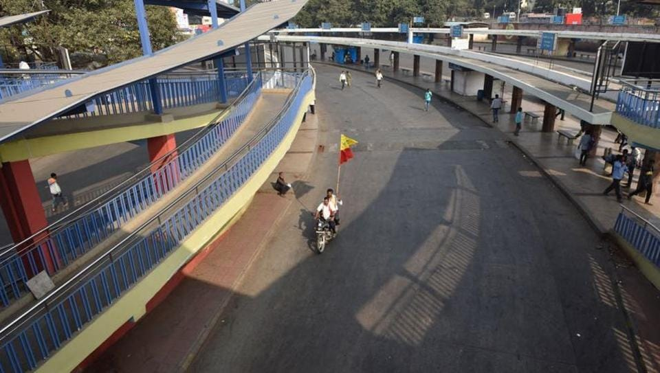 Majestic bus terminus in Bengaluru remains deserted due to a state-wide bandh on Thursday.