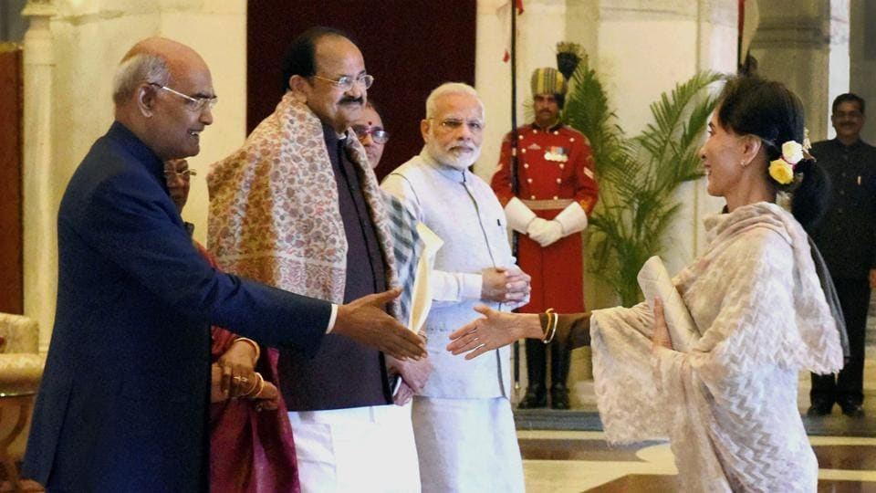 President Ram Nath Kovind greets Myanmar's State Counsellor Aung San Suu Kyi during a ceremonial reception of ASEAN heads at Rashtrapati Bhavan in New Delhi on Thursday. Also seen are Vice-President Venkaiah Naidu and Prime Minister Narendra Modi.