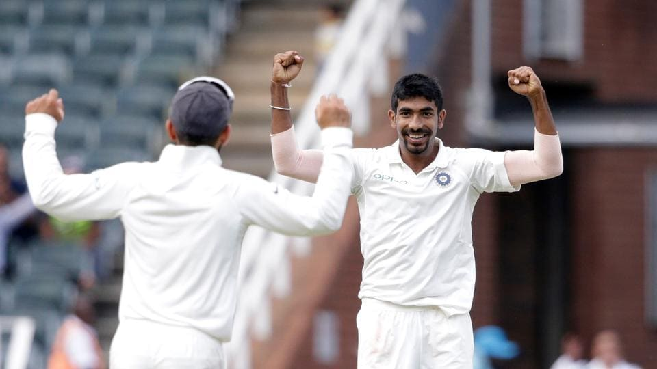 Jasprit Bumrah (R) got the dangerous Amla and also got the wickets of Du Plessis and De Kock. (AFP)