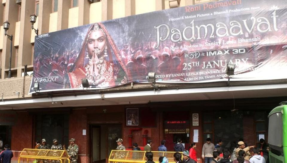 Security beefed up outside cinema halls as Padmaavat hits the screens in New Delhi on Thursday.