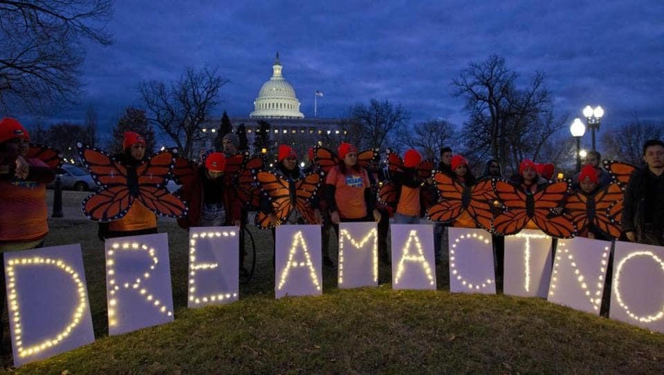 Demonstrators rally in support of Deferred Action for Childhood Arrivals (DACA) outside the Capitol in Washington. Democrats have been seeking a deal to protect the