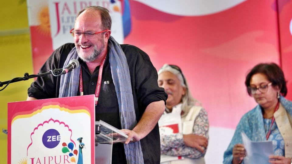 William Dalrymple speaks during the opening of the Jaipur Literature Festival (JLF) 2018 at Diggi Palace in Rajasthan. The festival this year will host over 200 sessions on topics ranging from fiction to journalism and travel writing over the course of five days, and was inaugurated by former Rajasthan Governor Margaret Alva and Pico Iyer, essayist and novelist. (Raj K Raj / HT Photo)