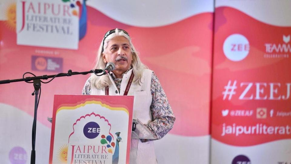 Sanjoy K. Roy seen during the inaugural session of the Jaipur Literature Festival 2018 at Diggi Palace at Jaipur. The 11th edition of the annual Jaipur Literature Festival began today. The five-day event will see over 200 speakers from diverse disciplines speak and engage in discussions, at the iconic Diggi Palace amid cultural performances. (Raj K Raj / HT Photo)