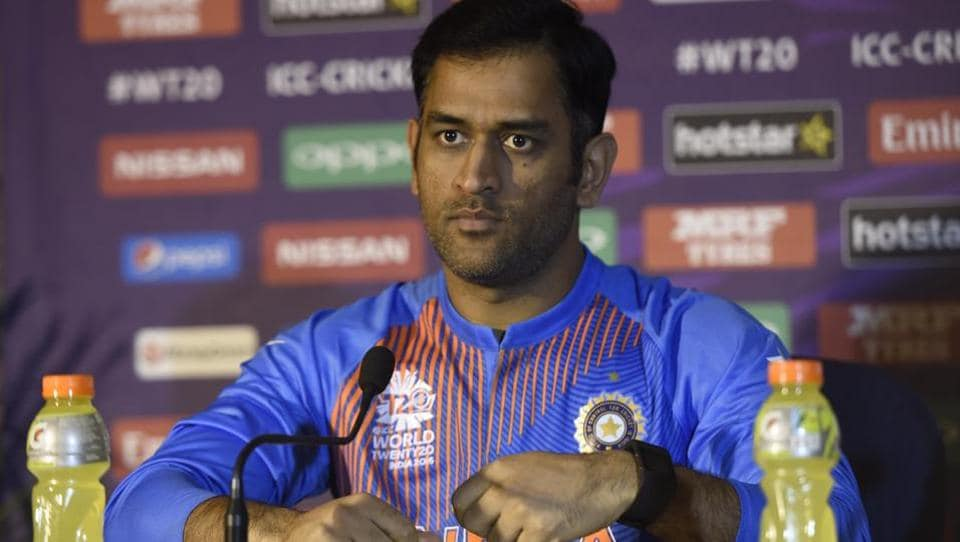 MS Dhoni holds a press conference in Kolkata.