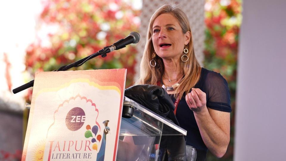 American theoretical physicist Lisa Randall, working in particle physics and cosmology, during a talk on her book 'Dark Matter and Dinosaurs: The Astounding Interconnectedness of the Universe' at Diggi Palace.  (Raj K Raj / HT Photo)