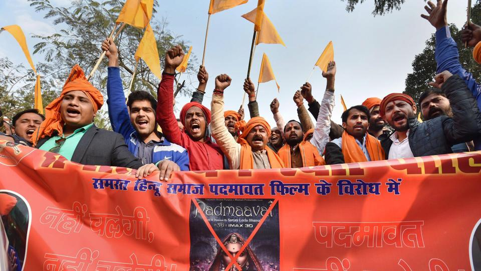 Karni Sena members protest against the release of film Padmaavat in Patna on Wednesday.
