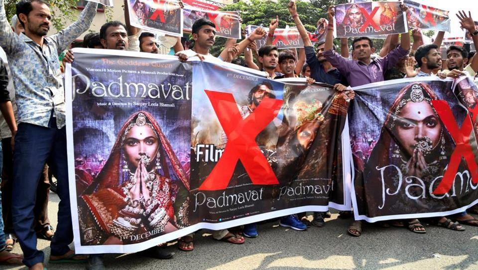 Coimbatore: Activists of Rashtriya Rajput Karni Sena holding banners and raising slogans during a protest against the release of the film