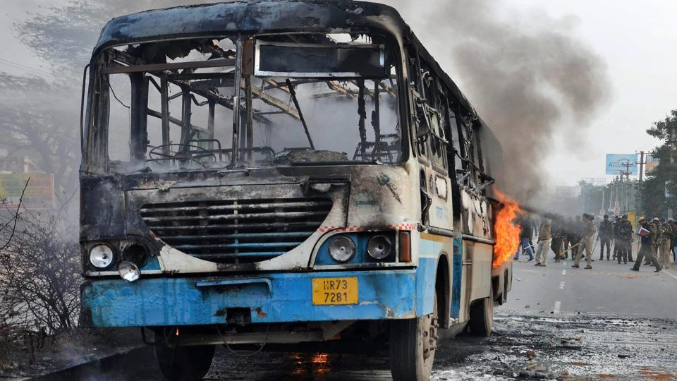 Gurugram: A Haryana roadways bus set on fire by alleged activists of the Karni Sena, at NH-248 during a demonstration against the release of Padmaavat in Gurugram.