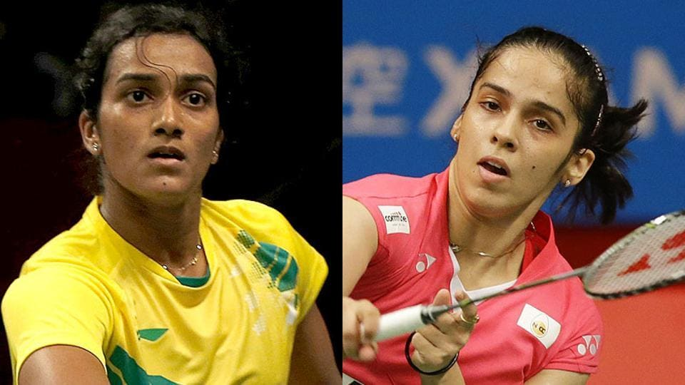 PVSindhu (L) will face Saina Nehwal in the women's singles quarterfinals of the Indonesia Masters badminton.