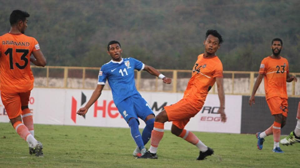 """Indian Arrows beat Chennai City in their I-League """"home""""match in Goa onNovember 30, 2017."""