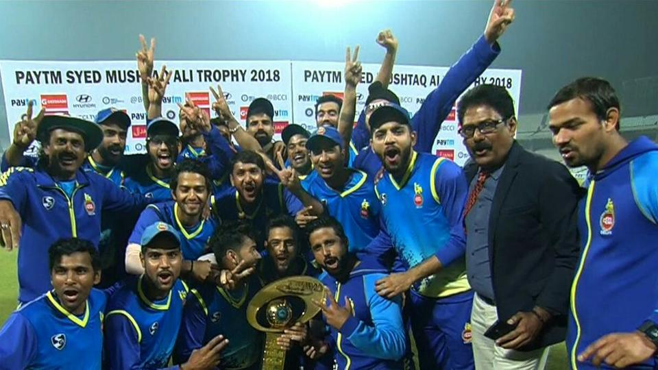 Delhi celebrate their maiden Syed Mushtaq Ali Trophy win after beating Rajasthan by 41 runs in the final at Eden Gardens in Kolkata today.