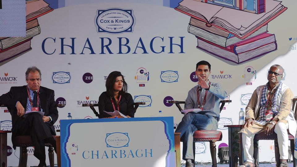 Chintan Chandrachud, Christophe Jaffrelot, Manoranjan Byapari and Sukhadeo Thorat in conversation with Pragya Tiwari during a session titled Dr. Ambedkar and his Legacy on the second day of the Jaipur Literature Festival on Friday.