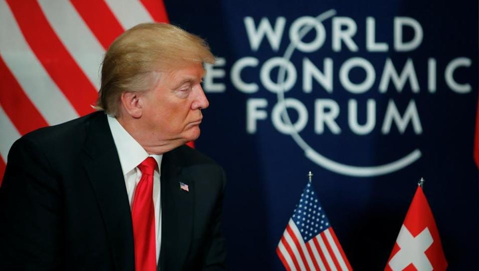 US President Donald Trump meets President Alain Berset (not pictured) of Switzerland during the World Economic Forum (WEF) annual meeting in Davos, Switzerland on January 26.