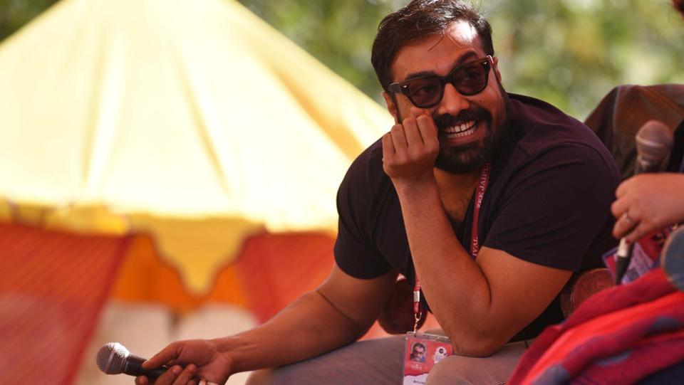 """Anurag Kashyap in conversation with Vani Tripathi Tikoo (not pictured) during """"The Hit Man: Anurag Kashyap"""" session in Jaipur Literature Festival (JLF) at Diggi Palace in Rajasthan.The 11th edition of the Jaipur Literature Festival (JLF) began Thursday  at Jaipur's Diggi Palace. Slotted for 5 days, the festival will feature over 200 sessions on various themes along with dance and musical performances. (Raj K Raj / HT Photo)"""