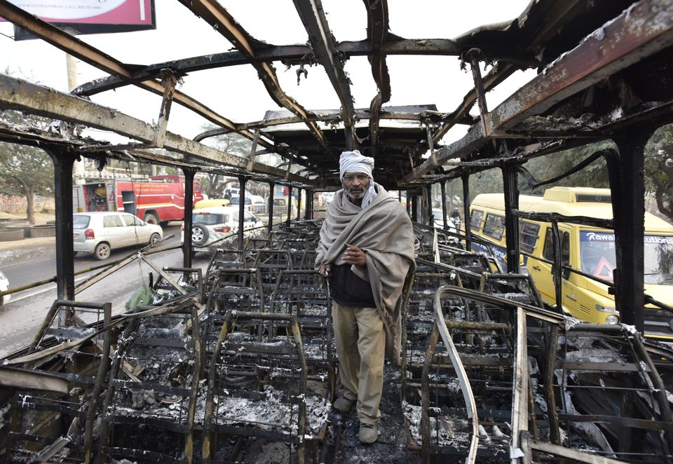 The conductor of the Haryana Roadways bus which was set on fire near Bhondsi village in Gurgaon allegedly by activists of Karni Sena.