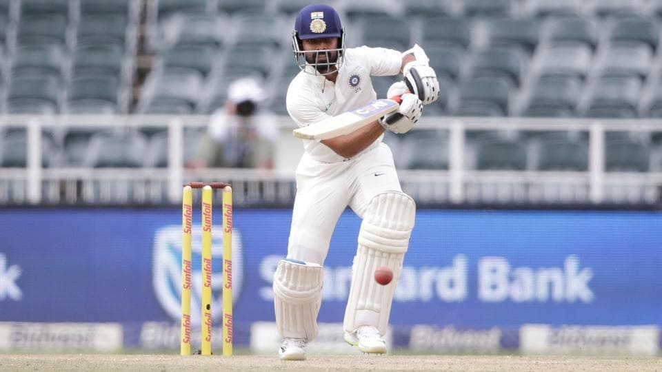 Indian batsman Ajinkya Rahane plays a shot during the third day of the third Test match between South Africa and India at Wanderers cricket ground on January 26, 2018 in Johannesburg.