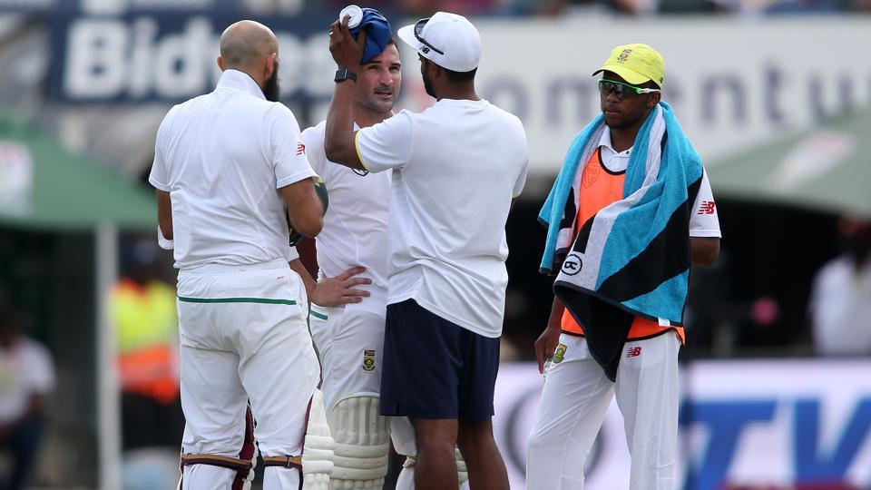 Match officials stopped play in the third Test between South Africa and India at Johannesburg and had discussions with captain and coaches of both the teams after Dean Elgar took a nasty blow on the grill of his helmet.  (BCCI )