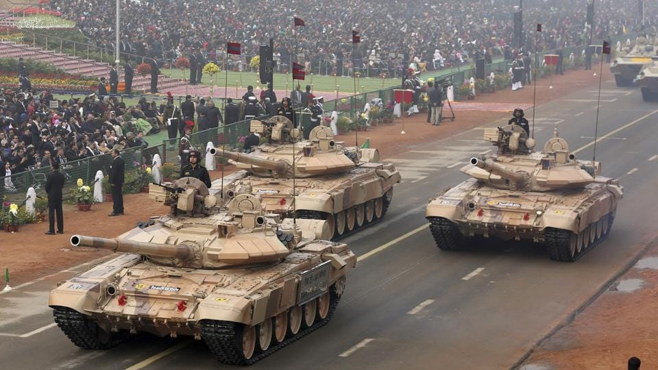 The T-90 Bhishma tanks rumble down Rajpath's ceremonial boulevard. (AP)