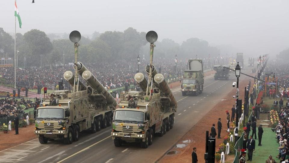 "India's supersonic cruise missile, the famed Brahmos Weapons System of the 881 Missile Regiment. The regiment's motto is ""Sarvatra Izzat O Iqbal"". (AP)"