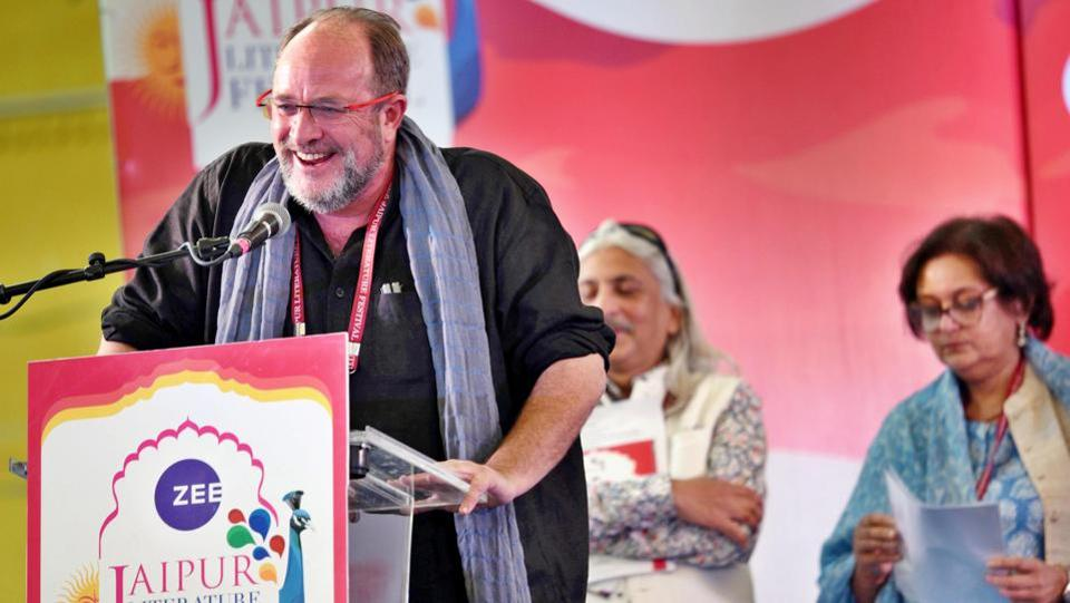 William Dalrymple speaks on the first day of the Jaipur Literature Festival (JLF) 2018 at Diggi Palace, Rajasthan on Thursday. (Raj K Raj/HT Photo)